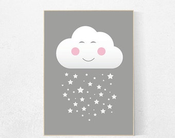 Cloud nursery, nursery decor, gray nursery, nursery wall art, nursery decor girl, nursery decor boy, baby room decor, nursery prints, cute
