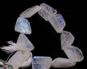 ON SALE 50% Moonstone Tumble, Rainbow Moonstone Faceted Nugget Beads, Natural Gemstones, Huge 18mm To 22mm, 4.5 Inch Half Strand, SKU-B147