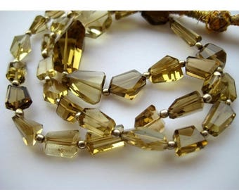 ON SALE 50% AAA Gems, Beer Quartz Beads, Faceted Nugget Beads, Faceted Beer Quartz, 5mm To 18mm, 18 Inch Strand, 36 Pieces Approx