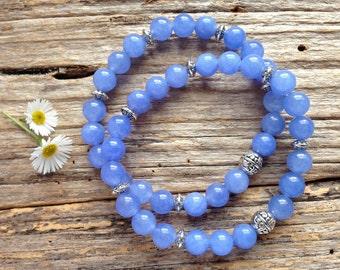 Brazilian Aquamarine Gemstone & Tibetan Bead Bracelet Set