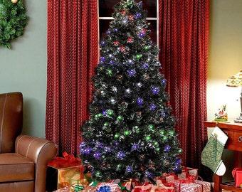 NEW Christmas Tree Pre-Lit Fiber Optic Artificial LED Lights Holiday Decoration