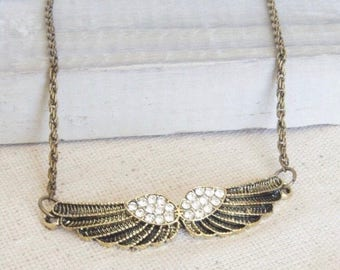 Angel Wings Necklace - Bronze Necklace, Pendant Necklace, Rhinestones Pendant, Vintage Inspired, Boho Necklace, Bohemian Jewelry, For Her