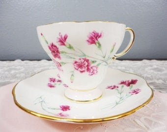 EB Foley Pale Pink and Pink Floral Bone China Teacup and Saucer