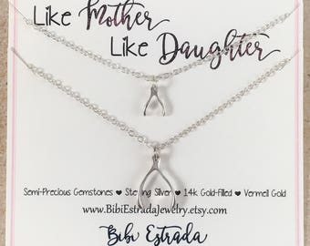 Wishbone Necklace Mother Daughter Necklace Sterling Silver Necklace Like Mother Like Daughter Minimalist Necklace Big Sister Little Sister