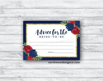 DIGITAL - Red Navy Gold Floral Advice for the Bride to be Card Blue and Red Floral Bride-to-be Wedding Advice Cards Gold Botanical Advice