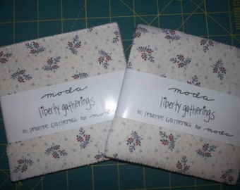 "2 Moda Charm Packs ~ Liberty Gatherings ~ (84) 5"" Cotton Quilt Squares"