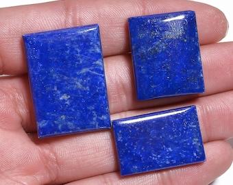 3 Pieces Lapis Lazuli Cabochons Lot Rectangle Shape, Natural Lapis Lazuli Gemstone Cabochon Loose Gemstones Cabs Smooth Stones