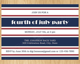 4th of July Independence Day Printable Invitation, Red White and Blue 4th of July Patriotic Party Invite, Stripes, Digital File PI009