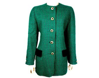 Vintage 1980s Mansfield Originals CACHE D'OR Jacket Womens Pure New Wool Green Black Dogtooth Houndstooth Check Collarless UK 12