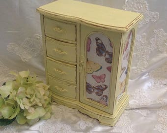 Jewelry Box Shabby Chic Jewelry Armoire Wooden Hand Painted Soft Yellow Distressed Upcycled Jewelry Butterfly Fabric