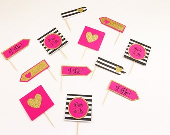 Bridal shower cupcake toppers | Pink, gold, and black and white striped cupcake topppers | bridal shower cake topper | bridal shower decor