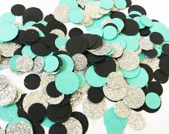 Robin egg blue Confetti | Black Confetti | Round Confetti | Glitter Confetti | Party Decor | Shower Decor | Table Decor | Balloon Confetti