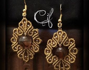 macrame earrings with semiprecious gem