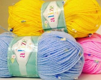 Baby yarn BABY FLOWER ALIZE , Fancy yarn,  flowers yarn, more colors in the palette