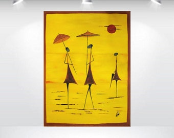 """abstract painting red orange yellow people 32 x 24""""  canvas art contemporary fine art by Ettis Gallery FREE SHIPPING"""