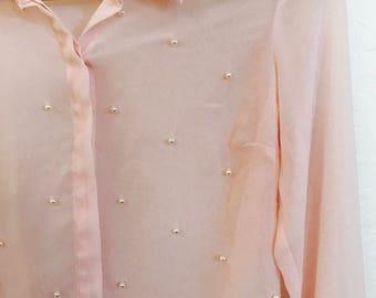 vtg pearls&light pink lovliness blouse