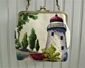 """Lighthouse Boats Shoreline Fishing Village Greens Burgundy Vintage Barkcloth Fabric 8"""" Antique Brass Kisslock Frame Crossbody Shoulder Bag"""