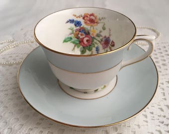 Colclough Tea Cup and Saucer, Blue with Colourful Floral, Crazing on Cup