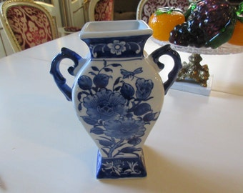 BLUE and WHITE VASE with Handles