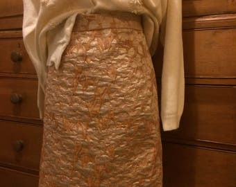 Vintage style skirt size 14 gold brocade 50's bombshell look