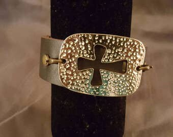 Gold cross leather cuff bracelet
