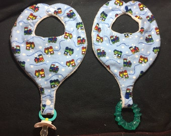 Choo Choo Train Pacifier Bib - Teether Bib - Binky Bib for Infants And Toddlers Handmade
