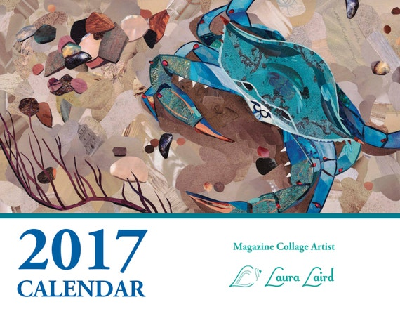 Art Calendar Business Magazine : Magazine collage calendar art coastal beach by