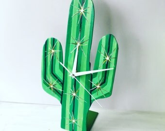 Cactus clock handpainted modern clock, living room decor