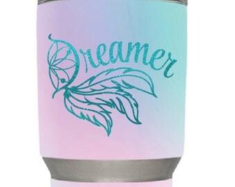 Dream Catcher Decal, Dreamer Yeti Decal, Glitter Vinyl Decal, Dream Decal, Dream Catcher Sticker, Car Decal, Yeti Decal, MaBook Decal