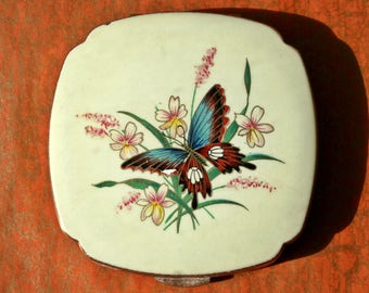Vintage Kigu Cream Enamel Powder Compact with Butterfly 1970s