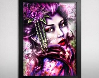 Geisha poster print - poster Geisha - poster pink - cherry blossom poster - woman geisha print - woman wall decoration - pink  red print