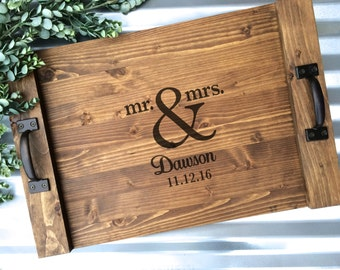 Rustic Personalized Serving Tray, Mr & Mrs Custom Wood Tray, Rustic Wedding Gift, Anniversary Gift