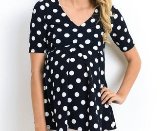 Hello Miz Polka Dot Peplum With Front Pleats