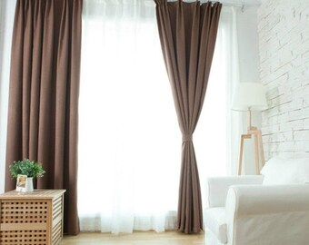 Brown Curtains, window curtain panels, linen curtains, custom curtains, custom drapes, dark grey curtain panels