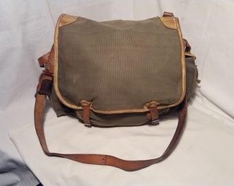 Vintage 1970's Military Green Canvas Bag - Shoulder Bag