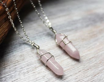 sale! Rose Quartz Pendant, Bohemian Necklace, Boho Jewelry, Rose Quartz Point Necklace, Rose Quartz Necklace, Rose Quartz Jewelry