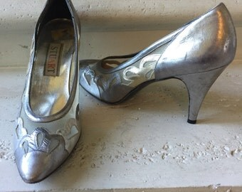 EVERYTHING ON SALE Stuart ~ Vintage Sheer Silver, Pewter and Gold Metallic Pumps
