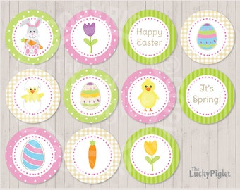 EASTER CUPCAKE TOPPERS, Easter Party Circles, Easter Cupcake Circles   Instant Download, Edit Text in Adobe Reader and print at home