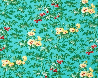 Fruta Y Flor Cherry Hill  Teal Cotton Quilt Fabric Free Spirit Verna Mosquera