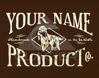Hipster Dog Logo Handmade USA Vintage Hunting Grooming Victorian Pre
