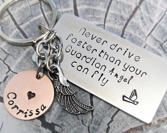 Personalized Guardian Angel Key Chain, Hand Stamped Key Chain, Sweet 16 Key Chain, New Driver Key Chain, Angel Key Chain Gift, Sweet 16 Gift