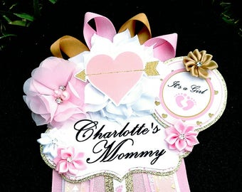 Baby Girl Hearts and Arrows Pink Gold Themed Mommy To Be Baby Shower Corsage