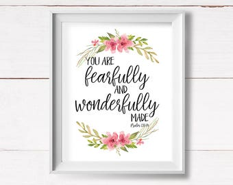 Psalms Printable Art, Shabby Nursery Printable, Fearfully and Wonderfully Made, Christian Wall Art, Psalm 139, Bible Verse, Instant Download