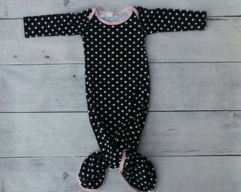 Knot Baby Gown Black & White Polka Dot with Pale Pink Trim