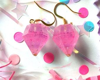 Pink Layer Cake Resin Diamond Earrings 14k Gold Plated Hooks Fairy Kei Unicorn Jewelry