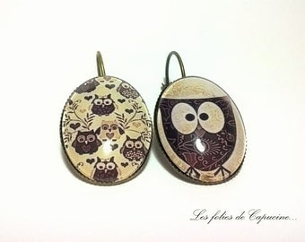 • VINTAGE • OWL Cabochon Stud Earrings