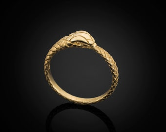 Gold Ouroboros Tail Biting Snake Ladies Ring Band (yellow, white, rose gold, 10K, 14K)