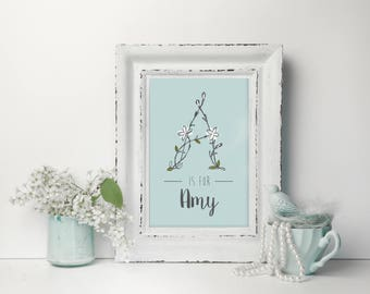 Daisy Initial (Teal) - Personalised Nursery Print - Children's Wall Art - Baby Nursery Decor