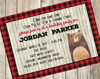 Lumberjack Invitation, Bear Birthday Invitation, Baby's First Birthday Invite, Baby Bear, Birthday Invitation, Printable