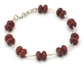 Red jasper bracelet, Red Jasper jewelry, Silver bracelet, Red gemstone bracelet, Red bracelet, Red stone bracelet, Red jewelry, for her